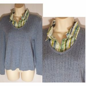 Alfred Dunner Layered Sweater Blue Pullover